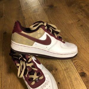 Nike air Force 1 beige and burgundy